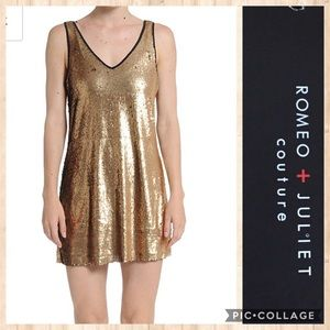 NWT Romeo + Juliet Couture Gold Sequin dress